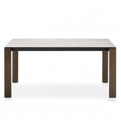 Tavolo Dorian Wood CB/4815-R130 Connubia - Gambe Noce, struttura Nero opaco e Piano in ceramica Sale