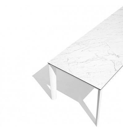Tavolo Lord Metal CB/4832-R Connubia - Struttura bianco ottico opaco e piano in ceramica Marmo Bianco Alpi