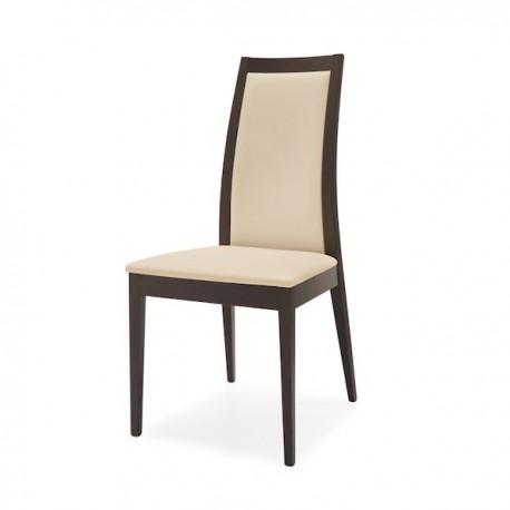 SEDIA CORTINA CB/1280 - Struttura in legno di faggio Wengè P128,. Seduta e schienale in similpelle Beige Noisette G8L.