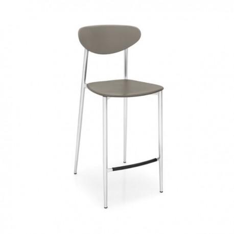 SGABELLO GRAFFITI CB/1437 - Struttura in metallo Acciaio Satinato P95, sedile e schienale in polipropilene Tortora P900