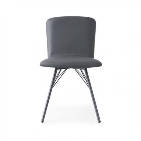 SEDIA EMMA CB/1662-SK - Struttura in metallo verniciato Grigio Opaco P16, seduta e schienale in similpelle Skuba Grigio S96.