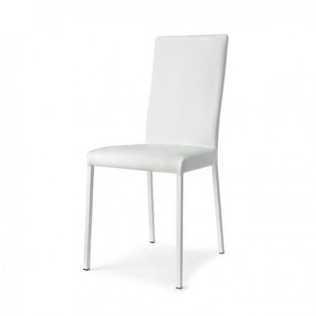 SEDIA GARDA CB/1525 - Gambe in metallo colore Bianco Ottico Opaco P94, seduta e schienale Similpelle Bianco G8K