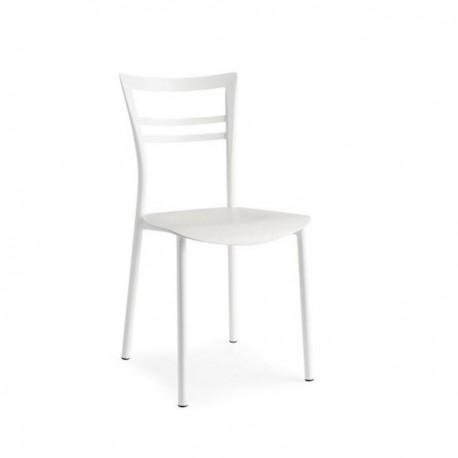 SEDIA GO! CB/1690 - Struttura metallo Bianco Ottico Opaco P94, Sedile legno Bianco Ottico Spazzolato P507