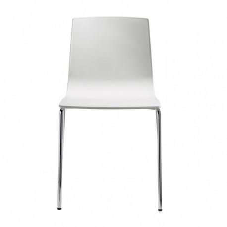 SEDIA ALICE 2675 - Gambe in metallo Cromato CR e seduta in tecnopolimnero Bianco Lino 11.