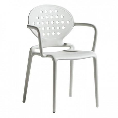 SEDIA CON BRACCIOLI COLETTE 2284 - Struttura in tecnopolimero nel colore Bianco Lino 11. Anche per giardini e terrazzi.