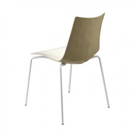 SEDIA ZEBRA BICOLORE 2272/VB222 - Gambe in metallo verniciato Bianco e seduta con interno in Bianco e retro in Tortora.