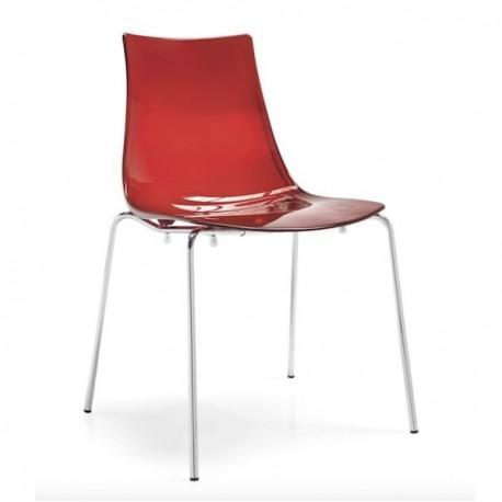 SEDIA LED CB/1298 - Struttura in metallo Cromato P77, seduta in policarbonato SAN Rosso Trasparente P852