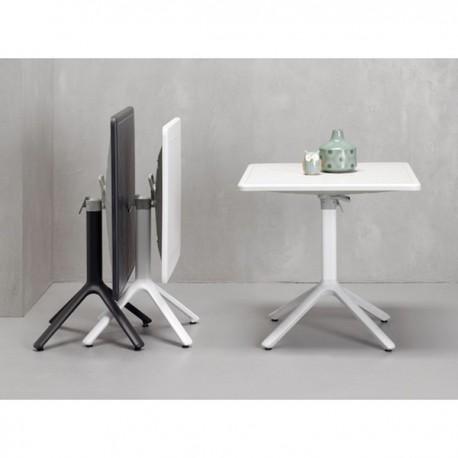 TAVOLO ECO PIANO RIBALTABILE - Colonna in alluminio verniciato, 4 gambe e piano in tecnopolimero Antracite 81 o Lino 11