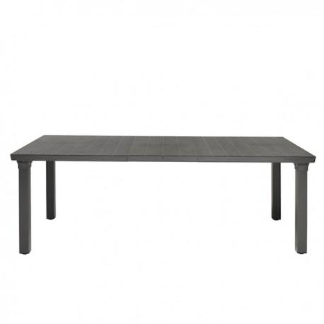 TAVOLO PER3 1893 - Gambe in alluminio verniciato e piano in polipropilene Antracite AV81. Ideale per giardino. Aperto 2 prolungh