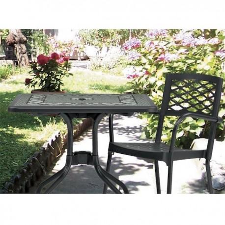 TAVOLO PIEGHEVOLE RIBALTO TOP 1879 - Gambe in alluminio Antracite e piano in tecnopolimero Antracite con decoro . Per Outdoor.