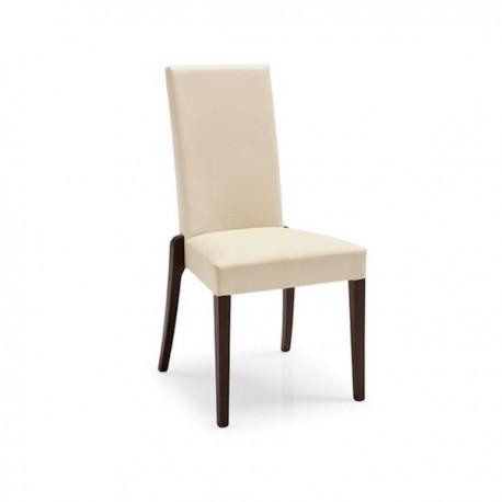 SEDIA DENMARK CB/1243 - Struttura in legno Wengè P128, sedile e schienale in similpelle Ekos Beige Noisette G8L