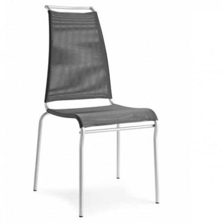SEDIA AIR HIGH CB/1069 - Struttura in Acciaio Satinato P95, seduta e schienale in rete Net Steel 450. Impilabile.