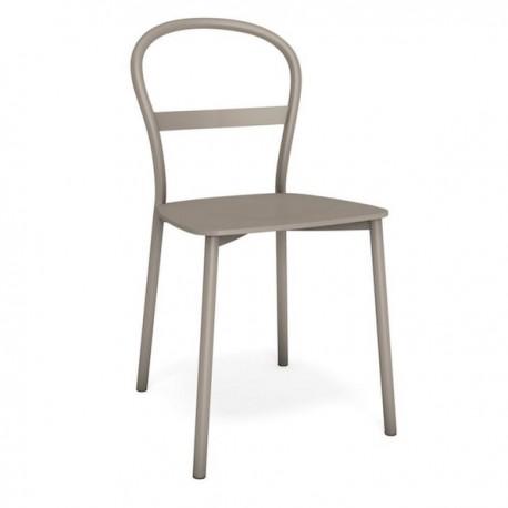 SEDIA NOVA CB/1669 - Gambe in metallo e seduta in legno multistrato di faggio laccato nel colore Tortora P176.