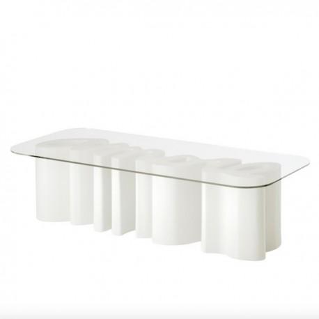 TAVOLINO AMORE TABLE AMT040 - Struttura in polietilene Bianco Latte FT e piano in vetro temperato trasparente, anche per esterno