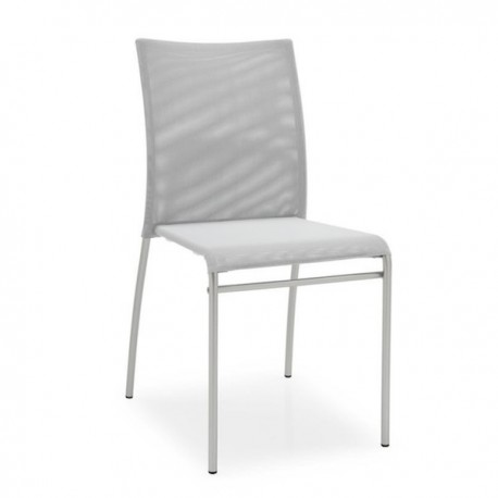 SEDIA JENNY CB/1362 - Struttura in metallo Acciaio Satinato P95, Seduta e schienale in Net Grigio 460