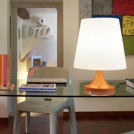 Lampada da tavolo Ali Baba Stand - Struttura in alluminio nel colore laccato lucido Arancio.