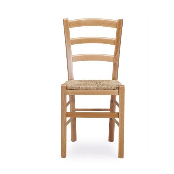 Sedia Venezia in legno di faggio con seduta anche in paglia.