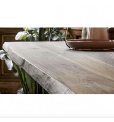 Tavolo TL Special Top fisso - Struttura in metallo verniciato e piano in legno massiccio dai bordi naturali in Noce Americano.