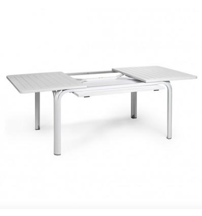 Tavolo Alloro Estensibile 140 oppure 210 - Gambe in alluminio verniciato in Bianco con piano in polipropilene Bianco.