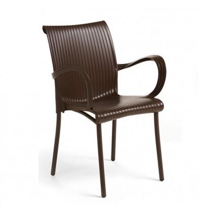 Sedia Dama con braccioli - Gambe in alluminio, seduta e schienale in polipropilene Caffè.