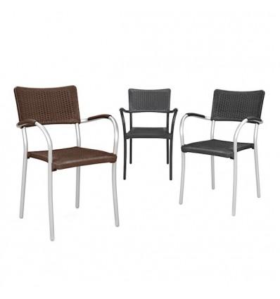 Sedia Artica Wicher con braccioli - Struttura in alluminio, seduta e schienale in polipropilene in vai colori.