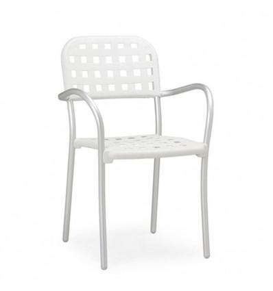 Sedia Aurora con braccioli - Gambe in alluminio Anodizzato, seduta e schienale in polipropilene Bianco.