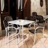 Sedia Aurora con braccioli - Gambe in alluminio Anodizzato, seduta e schienale in polipropilene Caffè.