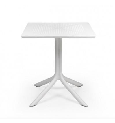 Tavolo Clip quadrato 70 x 70 - In polipropilene con struttura e piano forato in Bianco.