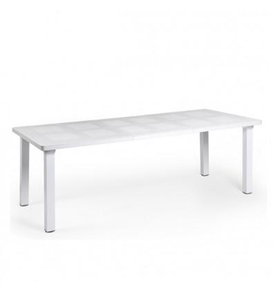 Tavolo Levante rettangolare estensibile - Gambe in alluminio e piano in polipropilene Bianco.