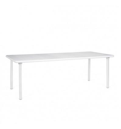 Tavolo Maestrale 220 allungabile  - Gambe in alluminio e piano il polipropilene Bianco.