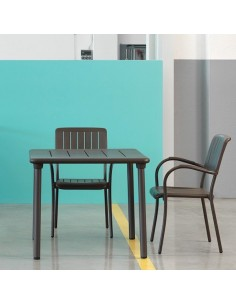 Tavoli Allungabili E Sedie In Coordinato.Sedia Musa Con Braccioli In Alluminio Verniciato E Polipropilene