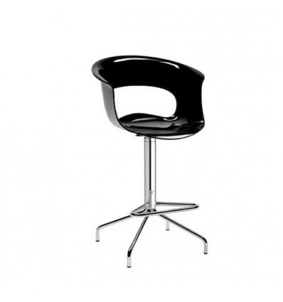 Sgabello Miss B Antishock 2312 - Struttura in metallo cromato e seduta in policarbonato Nero Pieno.