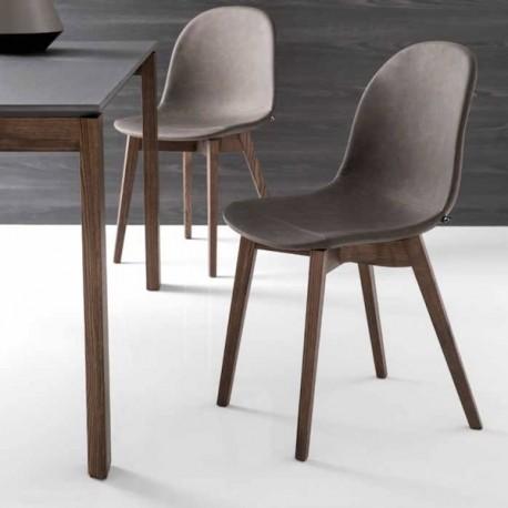 ACADEMY W CB/1665-V - Struttura in legno di frassino Smoke P12 e seduta in similpelle vintage colore Ebano S0C.