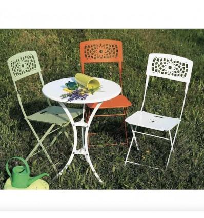 Tavolo Raffaello tondo fisso - realizzato interamente in metallo Bianco Lino, sedia pieghevole modello Gala.