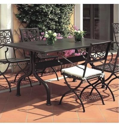 Tavolo Achille 2706 fisso - Gambe e piano in acciaio verniciato Antracite. Per giardini e terrazzi. Sedia Isa con braccio