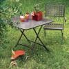 Tavolo Pieghevole quadrato - Struttura e piano in metallo verniciato Antracite, da cm 80 x 80. Sedia Isabella con braccioli.
