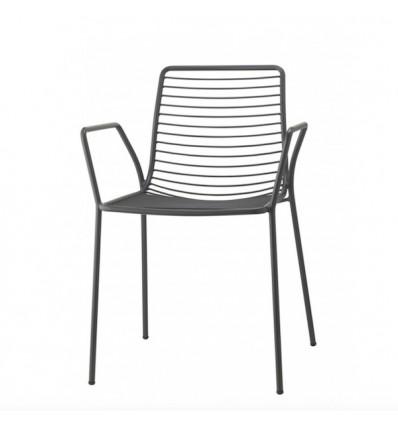 Sedia Summer 2520 con braccioli - In metallo verniciato nel color Antracite VA, ideale per giardini e terrazzi.