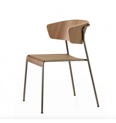 Sedia Lisa Wood 2850 con braccioli - Struttura in metallo effetto Nichel Lucido, seduta e schienale in legno Noce Canaletto