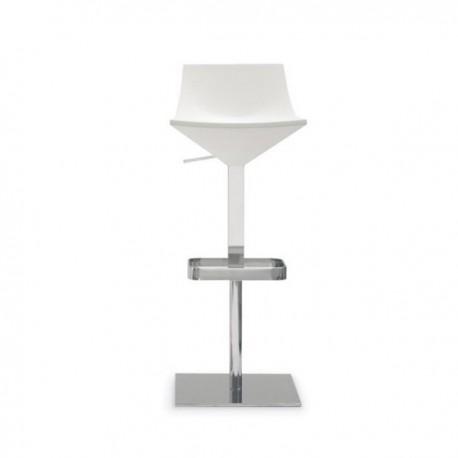 SGABELLO FLY CB/1040 - Struttura in metallo Cromato P77, Seduta in poliuretano Bianco