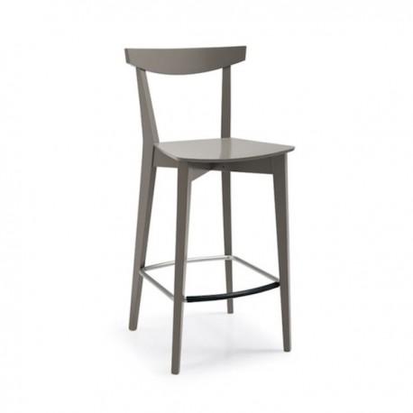 SGABELLO EVERGREEN CB/1140 - Struttura in legno di faggio con seduta in multistrato laccato Tortora P176. Poggiapiedi in metallo