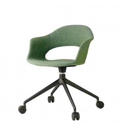 Sedia Lady Pop 2598 con ruote - Struttura in metallo verniciato Nero VN e seduta in tessuto Verde Giada T625.