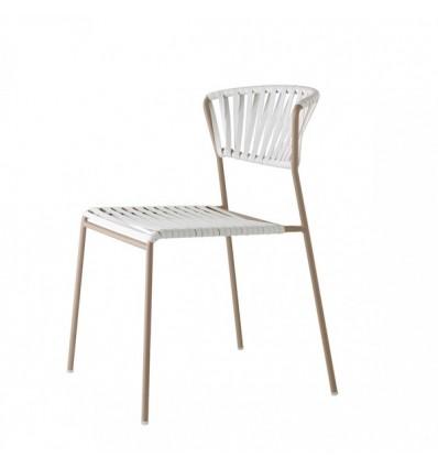 Sedia Lisa Club 2874 - Struttura in metallo verniciato Tortora , seduta e schienale cordonata in PVC Bianco Lino P10