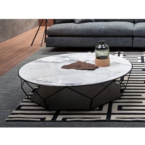 Tavolino Da Salotto Arbor Tondo Con Piano In Cristallo O Ceramica