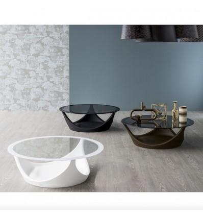 Tavolino Arvo fisso - Struttura in polietilene con piano in vetro cristallo decorato e fascia perimetrale colorata.