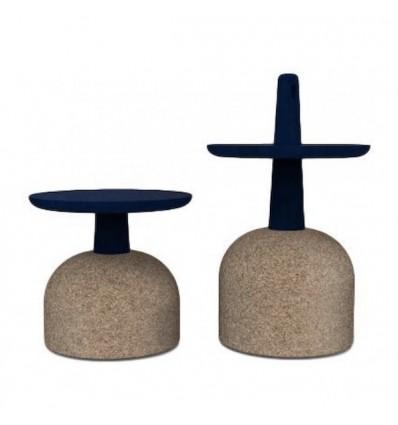 Tavolino Assemblage - Struttura in sughero e piano in legno massello, in due altezze e sei colori.