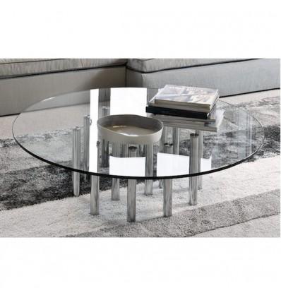 Tavolino Mille Coffee fisso tondo - Struttura in metallo Cromato e Piano in Cristallo Trasparente da 15 mm di spessore. In 5 mis