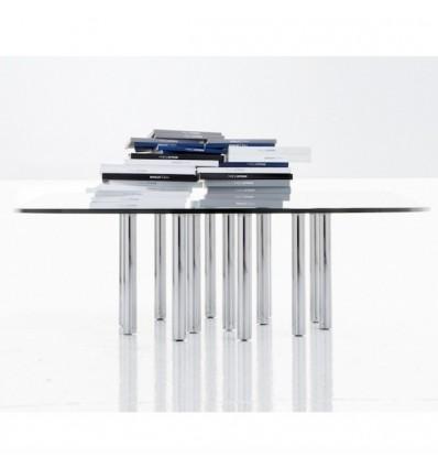 Tavolino Mille Coffee fisso quadrato - Struttura in metallo Cromato e piano in Cristallo Trasparente dallo spessore di 15 mm. In