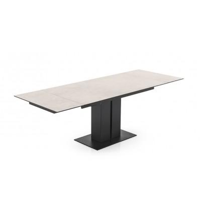 Tavolo Pegaso CB/4799-RC allungabile - Struttura in metallo verniciato Nero Opaco P15 e piano in ceramica Sale P5C (allungato)