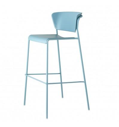Sgabello Lisa Tecnopolimero 2867 -  Struttura in metallo, seduta e schienale in polipropilene Blu Avio.