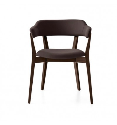 Sedia Hall CB/1965 - Struttura Wengè P128, seduta e schienale in similpelle Ekos Moka G8J.